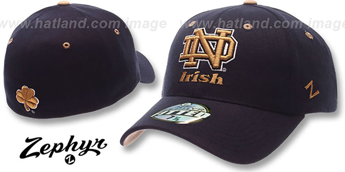Notre Dame 'DH' Fitted Hat by ZEPHYR - navy : pictured without stickers that these products are shipped with