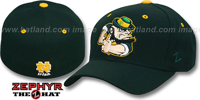 Notre Dame 'DHS X-LINE' Green Fitted Hat by Zephyr : pictured without stickers that these products are shipped with