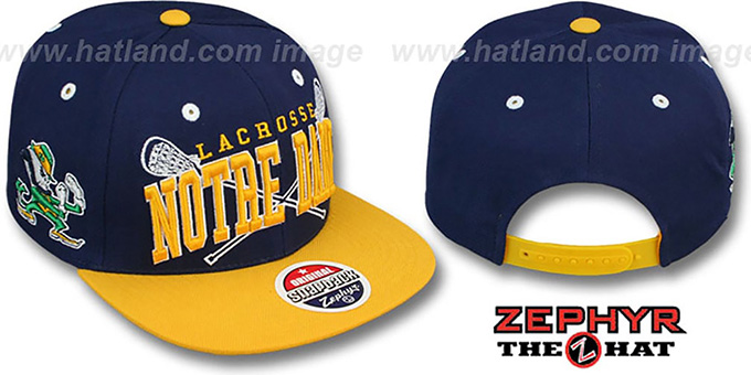 Notre Dame 'LACROSSE SUPER-ARCH SNAPBACK' Navy-Gold Hat by Zephyr