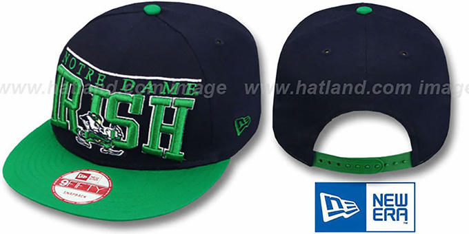 Notre Dame 'LE-ARCH SNAPBACK' Navy-Green Hat by New Era : pictured without stickers that these products are shipped with