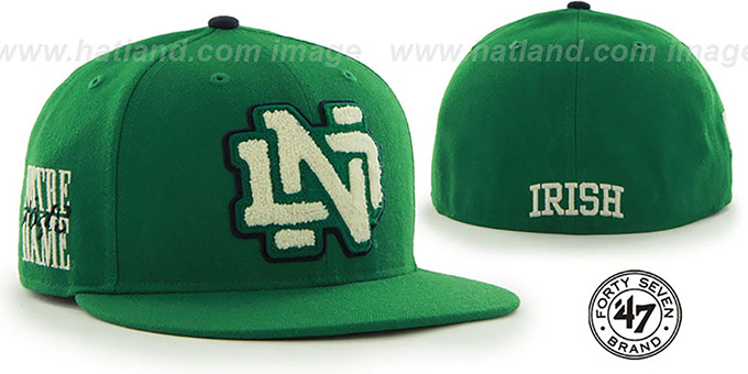 Notre Dame 'NCAA CATERPILLAR' Green Fitted Hat by 47 Brand : pictured without stickers that these products are shipped with