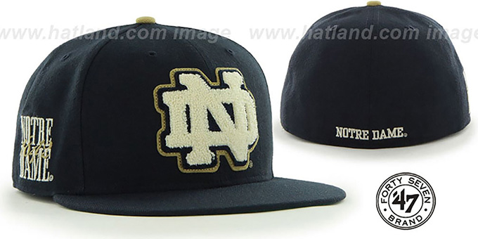 Notre Dame 'NCAA CATERPILLAR' Navy Fitted Hat by 47 Brand : pictured without stickers that these products are shipped with