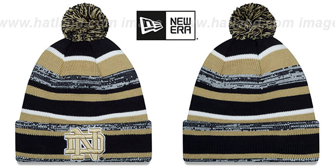 Notre Dame 'NCAA-STADIUM' Knit Beanie Hat by New Era : pictured without stickers that these products are shipped with