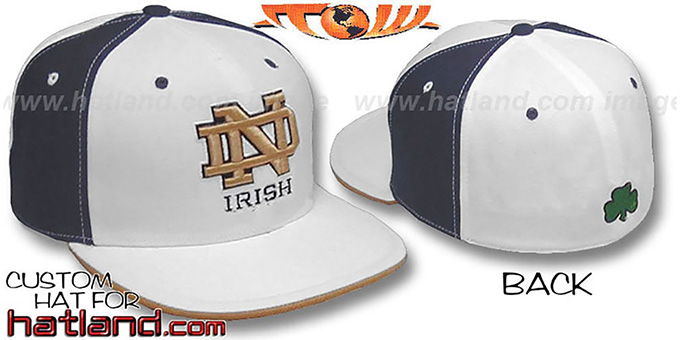 Notre Dame 'PINWHEEL' White-Navy Fitted Hat by Top of the World : pictured without stickers that these products are shipped with