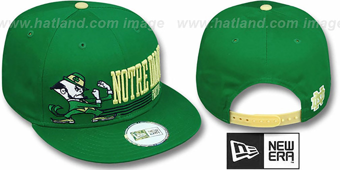 Notre Dame 'RETRO-SNAPBACK' Green Hat by New Era : pictured without stickers that these products are shipped with