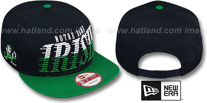 Notre Dame 'SAILTIP SNAPBACK' Navy-Green Hat by New Era : pictured without stickers that these products are shipped with