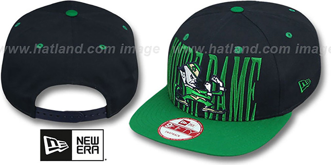 Notre Dame STEP-ABOVE SNAPBACK Navy-Green Hat by New Era 2cb7ade3257