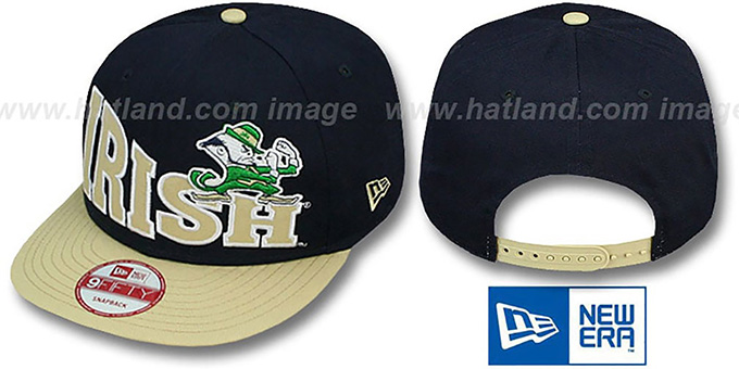 Notre Dame 'STOKED SNAPBACK' Navy-Gold Hat by New Era : pictured without stickers that these products are shipped with