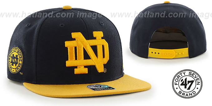 Notre Dame 'SURE-SHOT SNAPBACK' Navy-Gold Hat by Twins 47 Brand : pictured without stickers that these products are shipped with