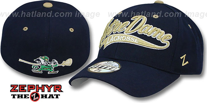 Notre Dame 'SWOOP LACROSSE' Navy Fitted Hat by Zephyr : pictured without stickers that these products are shipped with