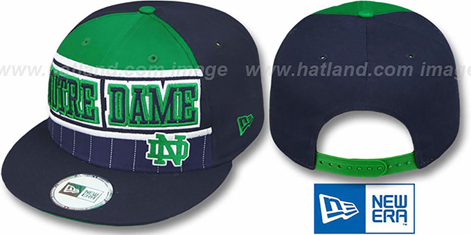 Notre Dame 'WARM-UP SNAPBACK' Navy-Green Hat by New Era : pictured without stickers that these products are shipped with