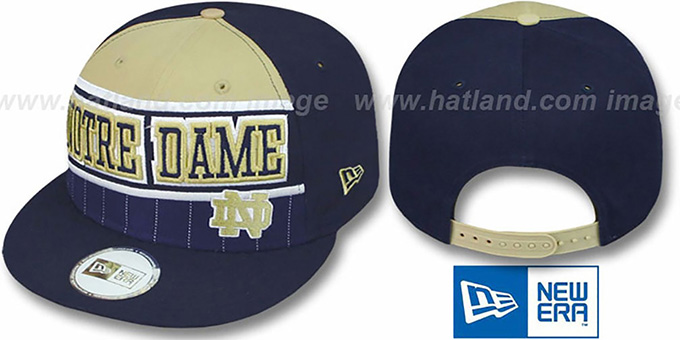 Notre Dame 'WARM-UP SNAPBACK' Navy-Tan Hat by New Era : pictured without stickers that these products are shipped with