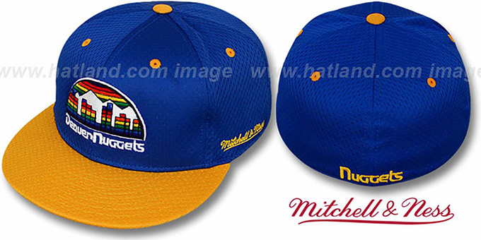 Nuggets '2T BP-MESH' Royal-Gold Fitted Hat by Mitchell & Ness : pictured without stickers that these products are shipped with