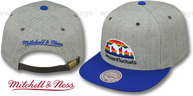 Nuggets '2T-HEATHER STRAPBACK' Hat Mitchell & Ness : pictured without stickers that these products are shipped with