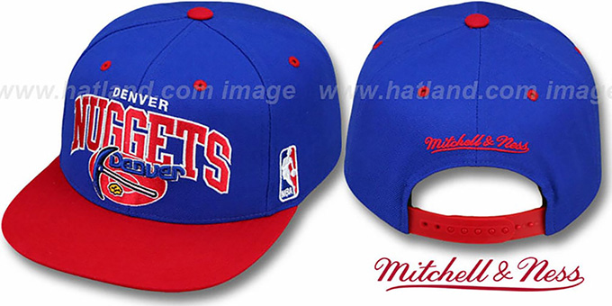 Nuggets '2T TEAM ARCH SNAPBACK' Adjustable Hat by Mitchell & Ness : pictured without stickers that these products are shipped with