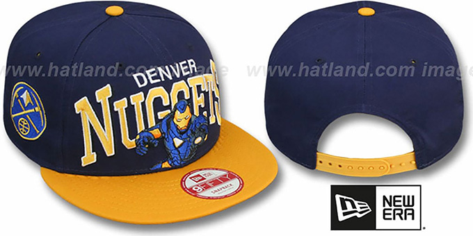Nuggets 'CHALK-UP HERO SNAPBACK' Navy-Gold Hat by New Era : pictured without stickers that these products are shipped with