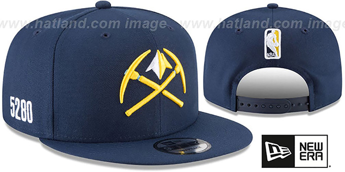 Nuggets 'CITY-SERIES SNAPBACK' Navy Hat by New Era : pictured without stickers that these products are shipped with