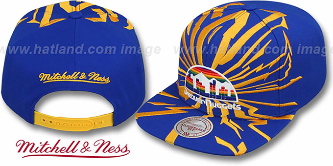 Nuggets 'EARTHQUAKE SNAPBACK' Royal Hat by Mitchell & Ness : pictured without stickers that these products are shipped with