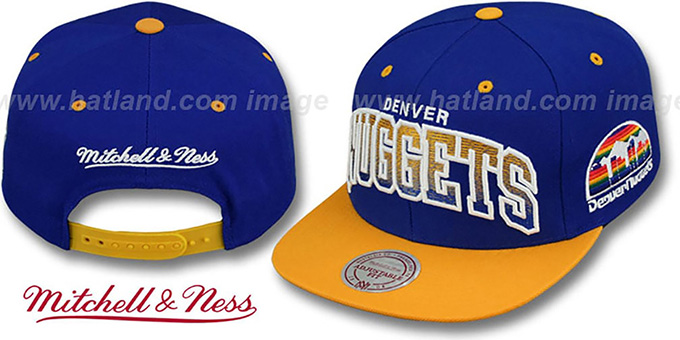 Nuggets 'GRADIANT-ARCH SNAPBACK' Royal-Gold Hat by Mitchell & Ness : pictured without stickers that these products are shipped with