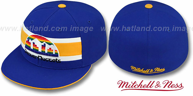 Nuggets 'HARDWOOD TIMEOUT' Royal Fitted Hat by Mitchell & Ness : pictured without stickers that these products are shipped with