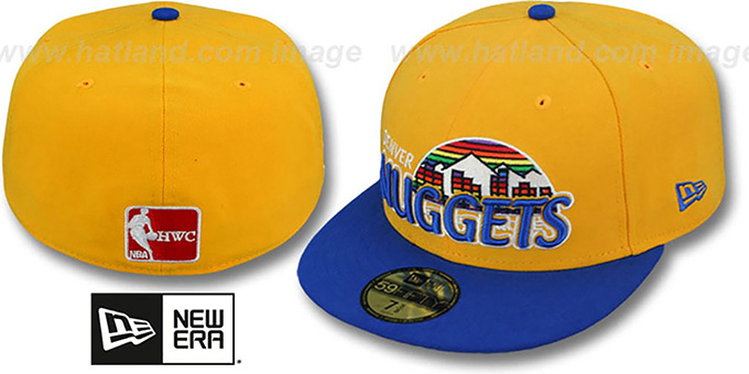 3447cbcb687 Denver Nuggets HWC-TIGHT Gold-Royal Fitted Hat by New Era