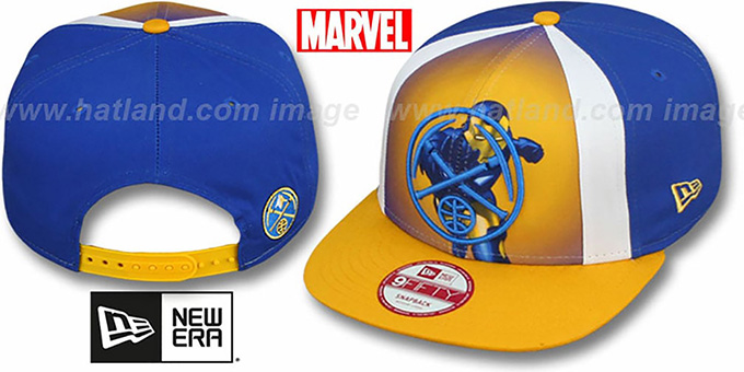 Nuggets 'MARVEL RETRO-SLICE SNAPBACK' Royal-Gold Hat by New Era : pictured without stickers that these products are shipped with