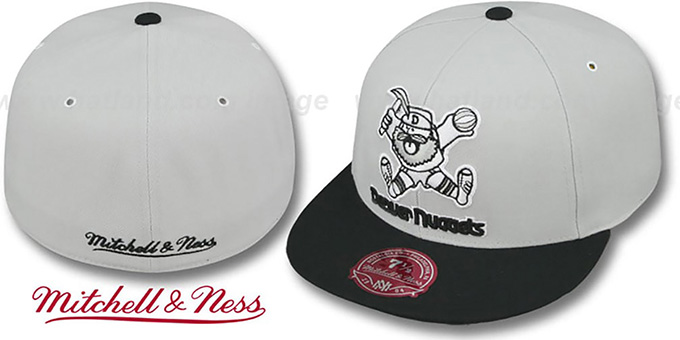 size 40 9399a 29328 Nuggets  MONOCHROME XL-LOGO  Grey-Black Fitted Hat by Mitchell   Ness