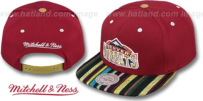 Nuggets 'NATIVE-STRIPE SNAPBACK' Burgundy Hat by Mitchell & Ness : pictured without stickers that these products are shipped with