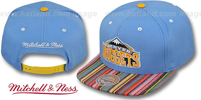 Nuggets 'NATIVE-STRIPE SNAPBACK' Sky Hat by Mitchell & Ness : pictured without stickers that these products are shipped with