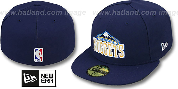 Nuggets 'NBA-CHASE' Navy Fitted Hat by New Era : pictured without stickers that these products are shipped with