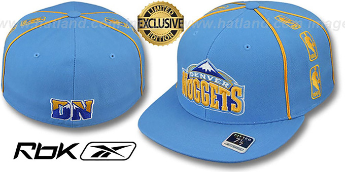 Nuggets 'NBA-TRIPLESIDE' Sky Fitted Hat by Reebok : pictured without stickers that these products are shipped with
