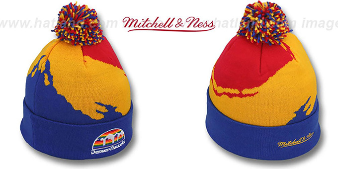 6acdc834bd7 Denver Nuggets PAINTBRUSH BEANIE by Mitchell and Ness