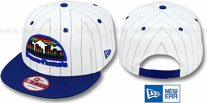 Nuggets 'PINSTRIPE BITD SNAPBACK' White-Royal Hat by New Era : pictured without stickers that these products are shipped with