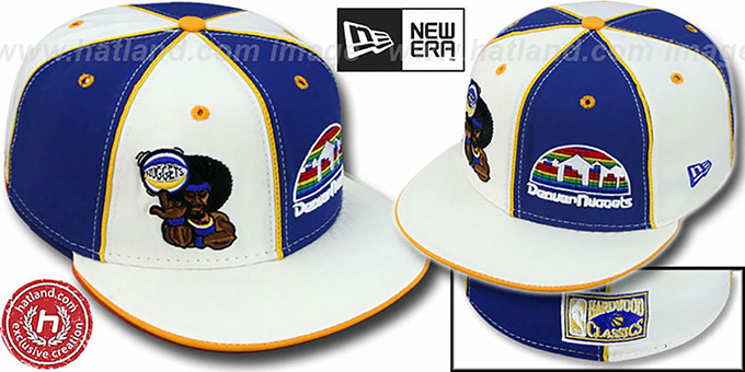 Nuggets 'RETROMAN DOUBLE WHAMMY' White-Royal Fitted Hat : pictured without stickers that these products are shipped with