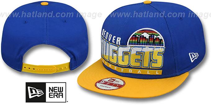 Nuggets 'SLICE-N-DICE SNAPBACK' Royal-Gold Hat by New Era : pictured without stickers that these products are shipped with