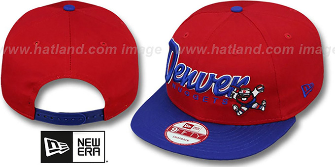 Nuggets 'SNAP-IT-BACK SNAPBACK' Red-Royal Hat by New Era : pictured without stickers that these products are shipped with