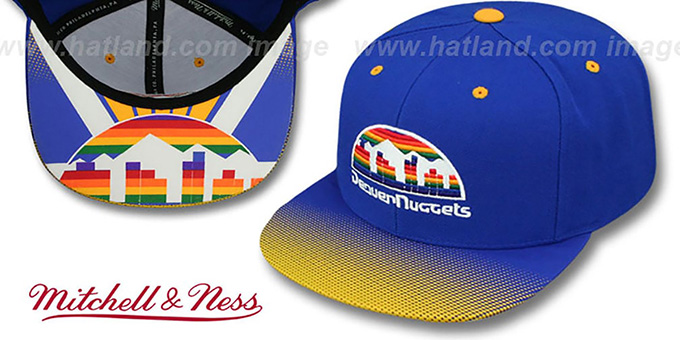 Nuggets 'STOP-ON-A-DIME SNAPBACK' Royal-Gold Hat by Mitchell and Ness : pictured without stickers that these products are shipped with