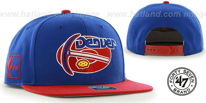 Nuggets 'SURE-SHOT SNAPBACK' Royal-Red Hat by Twins 47 Brand : pictured without stickers that these products are shipped with