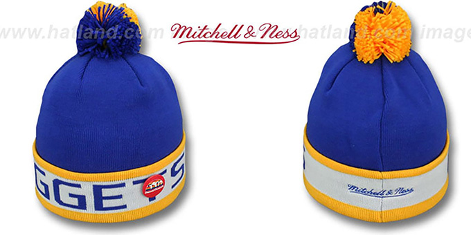 Nuggets 'THE-BUTTON' Knit Beanie Hat by Michell & Ness : pictured without stickers that these products are shipped with
