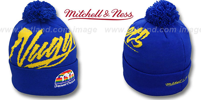 Nuggets 'VICE BEANIE' Royal by Mitchell and Ness : pictured without stickers that these products are shipped with