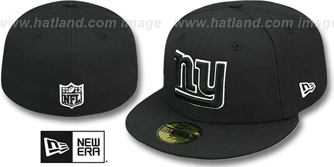 NY Giants 'NFL TEAM-BASIC' Black-White Fitted Hat by New Era : pictured without stickers that these products are shipped with