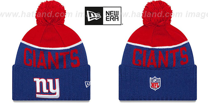NY Giants  '2015 STADIUM' Royal-Red Knit Beanie Hat by New Era : pictured without stickers that these products are shipped with