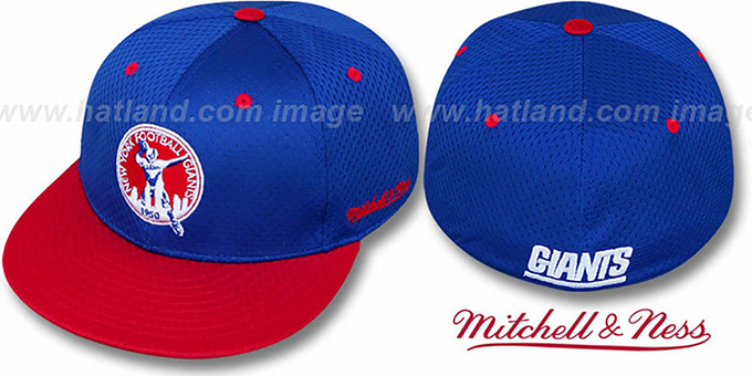 NY Giants '1950 ALT 2T BP-MESH' Royal-Red Fitted Hat by Mitchell & Ness : pictured without stickers that these products are shipped with