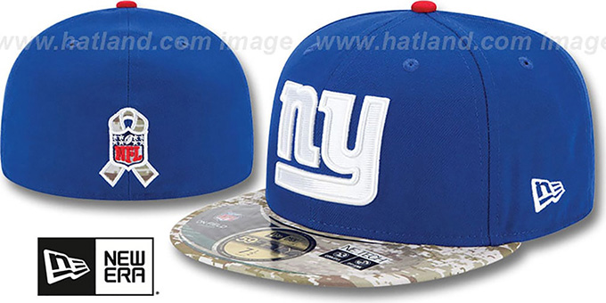 NY Giants '2014 SALUTE-TO-SERVICE' Royal-Desert Fitted Hat by New Era : pictured without stickers that these products are shipped with