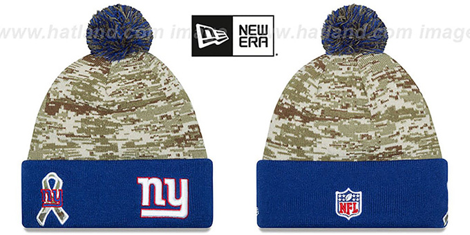 NY Giants '2015 SALUTE-TO-SERVICE' Knit Beanie Hat by New Era : pictured without stickers that these products are shipped with