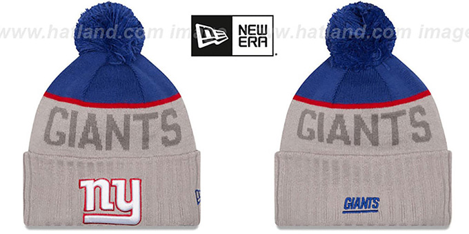 NY Giants '2015 STADIUM' Grey-Royal Knit Beanie Hat by New Era : pictured without stickers that these products are shipped with