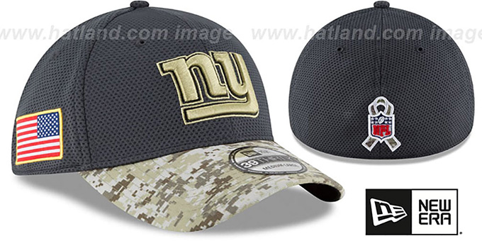 NY Giants '2016 SALUTE-TO-SERVICE FLEX' Grey-Desert Hat by New Era : pictured without stickers that these products are shipped with
