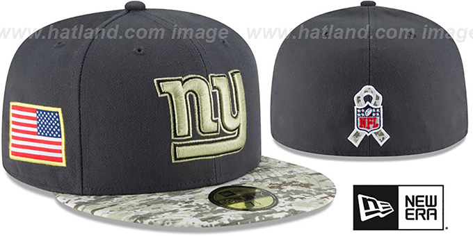 NY Giants '2016 SALUTE-TO-SERVICE' Grey-Desert Fitted Hat by New Era : pictured without stickers that these products are shipped with