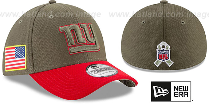 NY Giants '2017 SALUTE-TO-SERVICE FLEX' Green-Red Hat by New Era : pictured without stickers that these products are shipped with