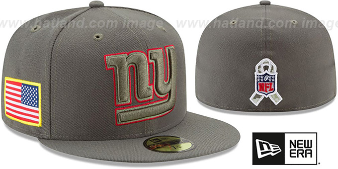 NY Giants '2017 SALUTE-TO-SERVICE' Green Fitted Hat by New Era : pictured without stickers that these products are shipped with